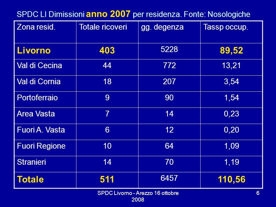 SPDC LI Dimissioni anno 2007 per residenza. Fonte: Nosologiche