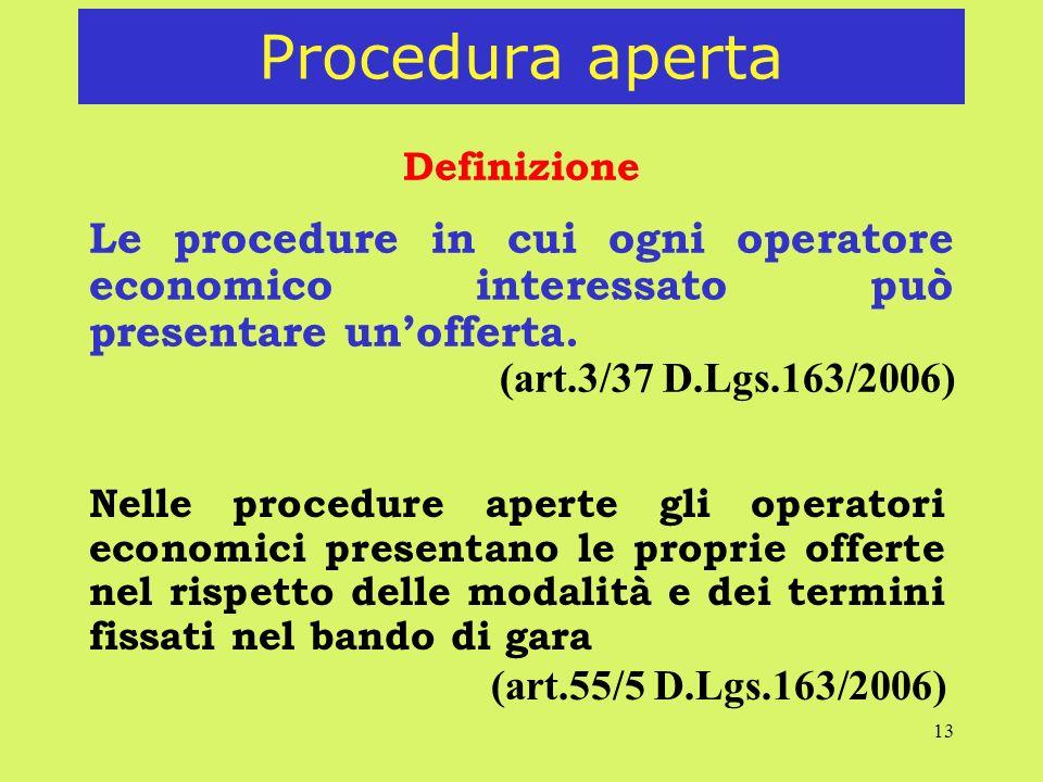 Procedura aperta Definizione. Le procedure in cui ogni operatore economico interessato può presentare un'offerta.