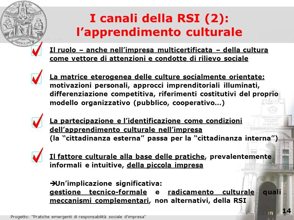 I canali della RSI (2): l'apprendimento culturale