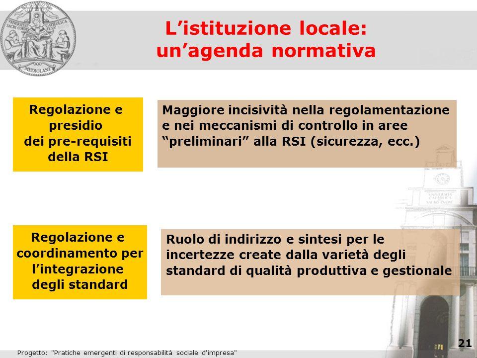 L'istituzione locale: un'agenda normativa