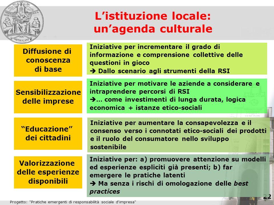 L'istituzione locale: un'agenda culturale