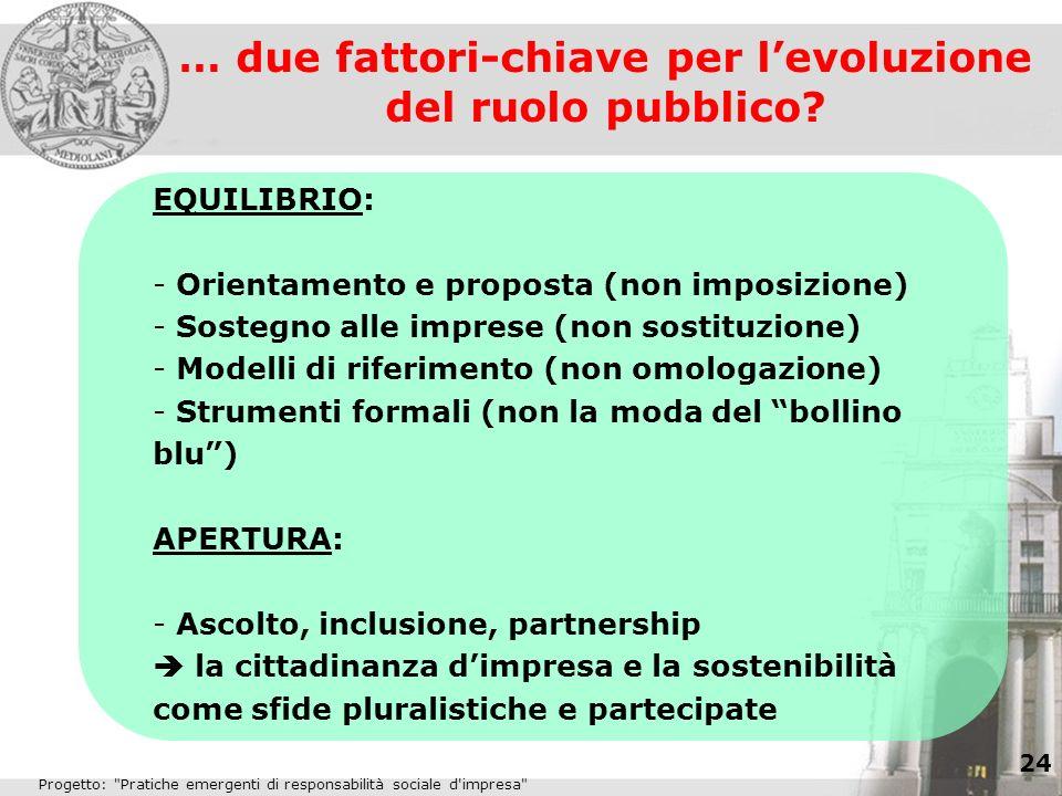 … due fattori-chiave per l'evoluzione del ruolo pubblico