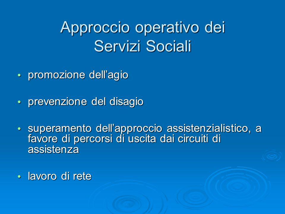 Approccio operativo dei Servizi Sociali