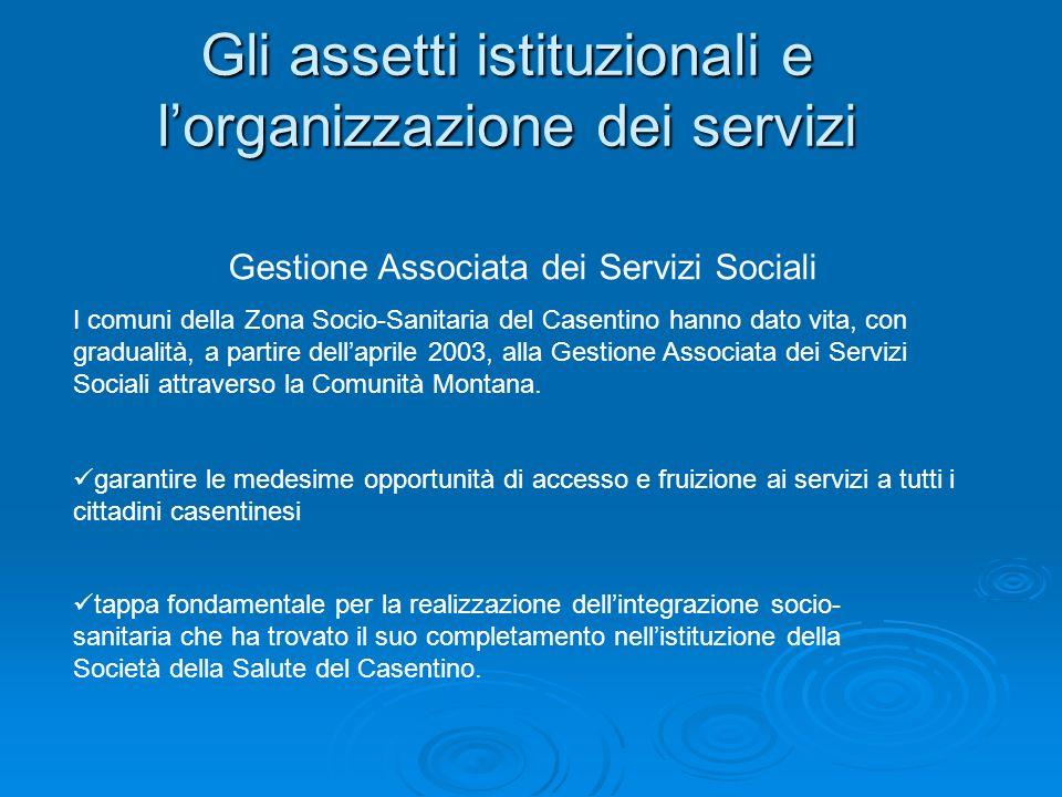 Gli assetti istituzionali e l'organizzazione dei servizi