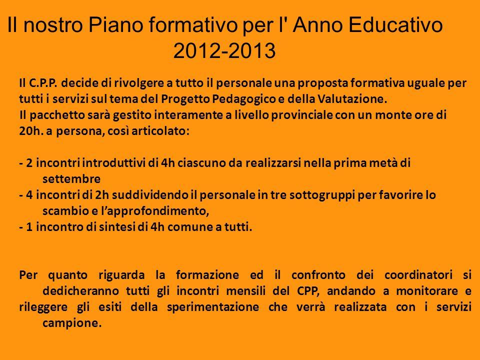 Il nostro Piano formativo per l Anno Educativo 2012-2013
