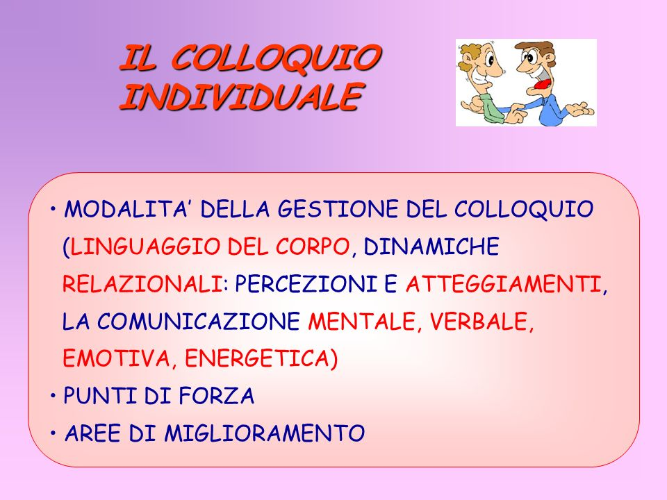 IL COLLOQUIO INDIVIDUALE MODALITA' DELLA GESTIONE DEL COLLOQUIO