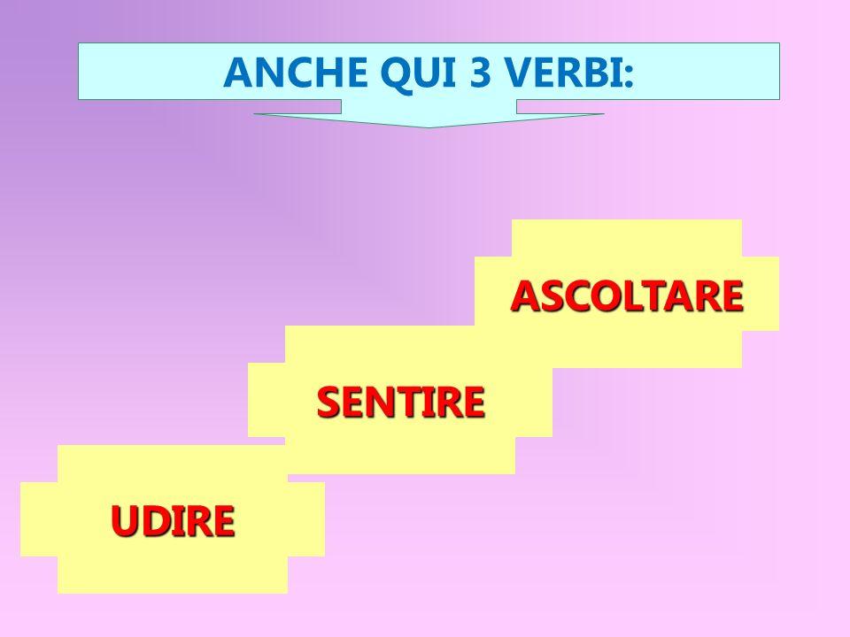 ANCHE QUI 3 VERBI: ASCOLTARE SENTIRE UDIRE