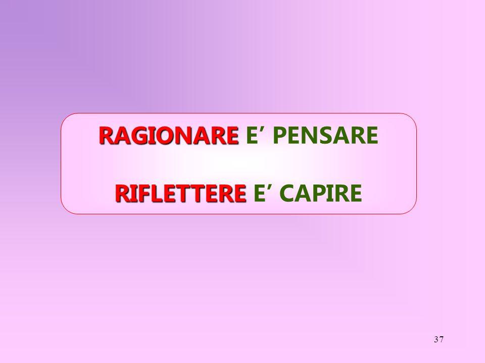 RAGIONARE E' PENSARE RIFLETTERE E' CAPIRE