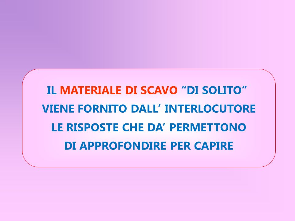 IL MATERIALE DI SCAVO DI SOLITO VIENE FORNITO DALL' INTERLOCUTORE