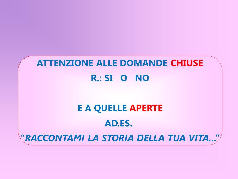 ATTENZIONE ALLE DOMANDE CHIUSE R.: SI O NO