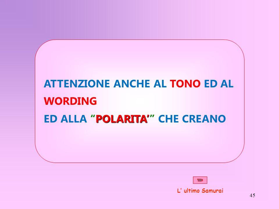 ATTENZIONE ANCHE AL TONO ED AL WORDING ED ALLA POLARITA' CHE CREANO