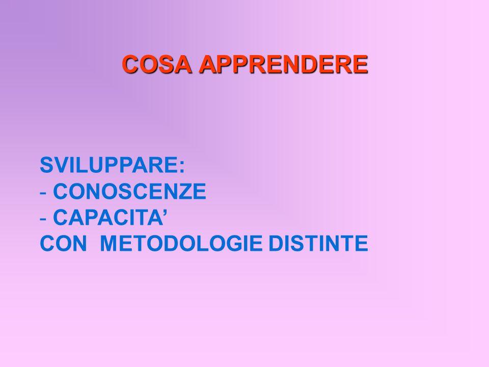 COSA APPRENDERE SVILUPPARE: CONOSCENZE CAPACITA'