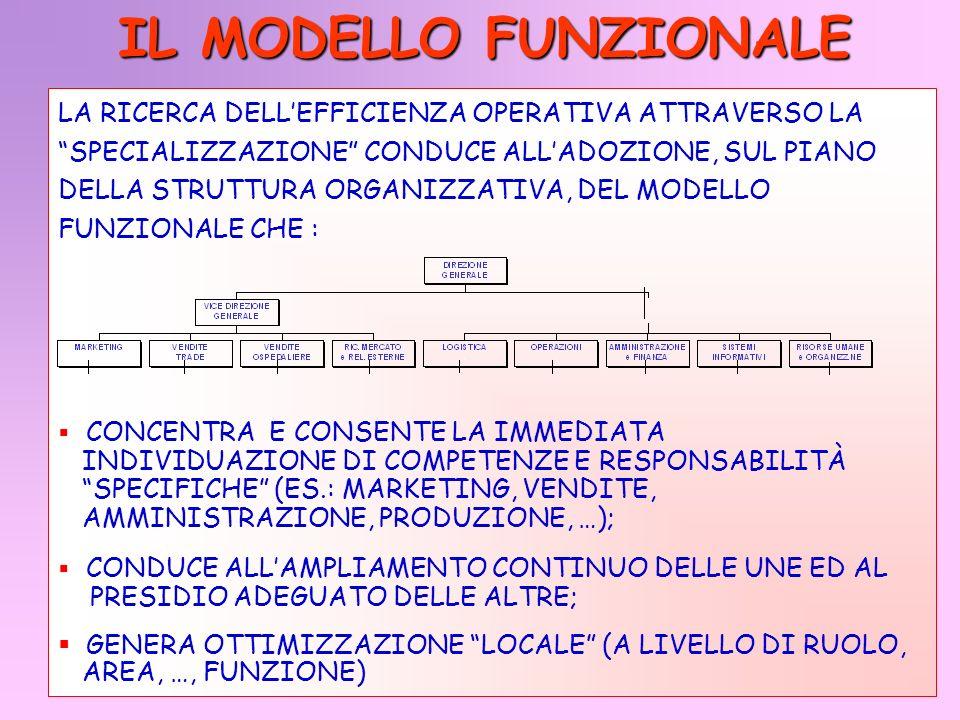 IL MODELLO FUNZIONALE LA RICERCA DELL'EFFICIENZA OPERATIVA ATTRAVERSO LA. SPECIALIZZAZIONE CONDUCE ALL'ADOZIONE, SUL PIANO.