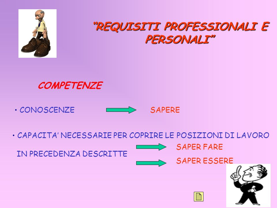 REQUISITI PROFESSIONALI E PERSONALI