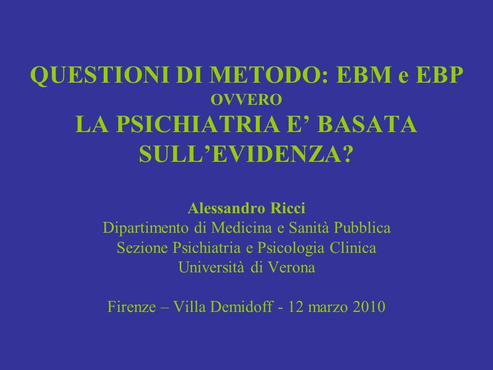 QUESTIONI DI METODO: EBM e EBP OVVERO LA PSICHIATRIA E' BASATA SULL'EVIDENZA.