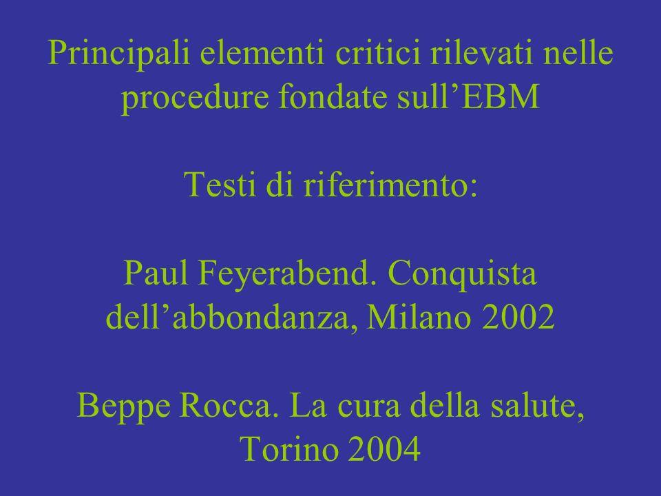 Principali elementi critici rilevati nelle procedure fondate sull'EBM Testi di riferimento: Paul Feyerabend.