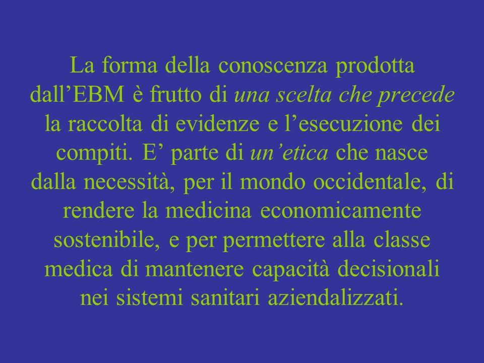 La forma della conoscenza prodotta dall'EBM è frutto di una scelta che precede la raccolta di evidenze e l'esecuzione dei compiti.