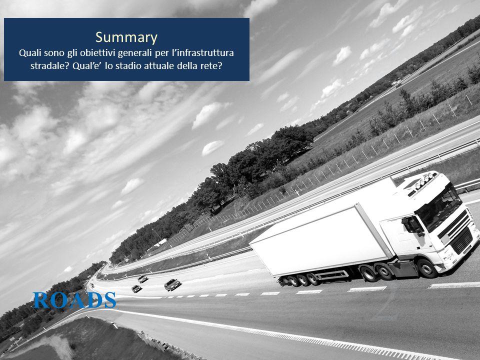 Summary Quali sono gli obiettivi generali per l'infrastruttura stradale Qual'e' lo stadio attuale della rete