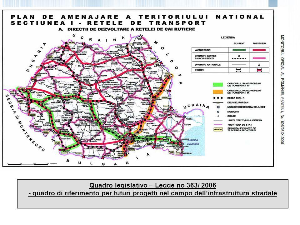 Quadro legislativo – Legge no 363/ 2006 - quadro di riferimento per futuri progetti nel campo dell'infrastruttura stradale