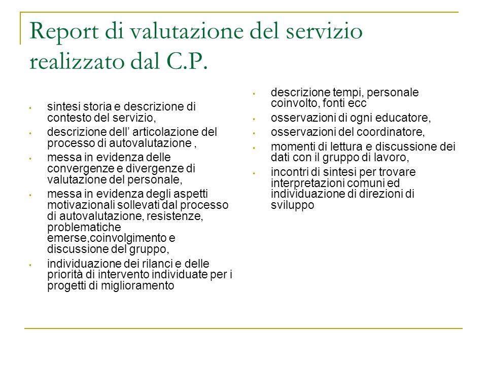 Report di valutazione del servizio realizzato dal C.P.