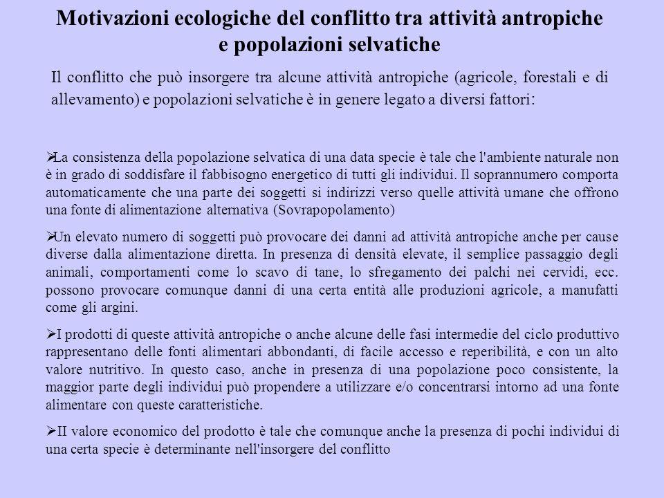 Motivazioni ecologiche del conflitto tra attività antropiche e popolazioni selvatiche