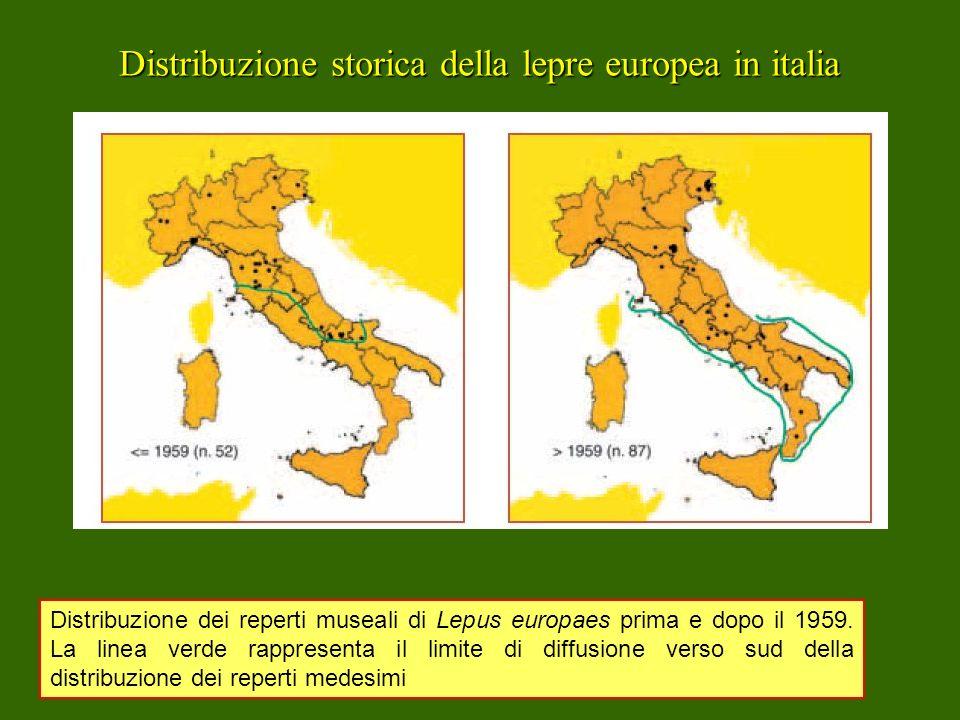 Distribuzione storica della lepre europea in italia