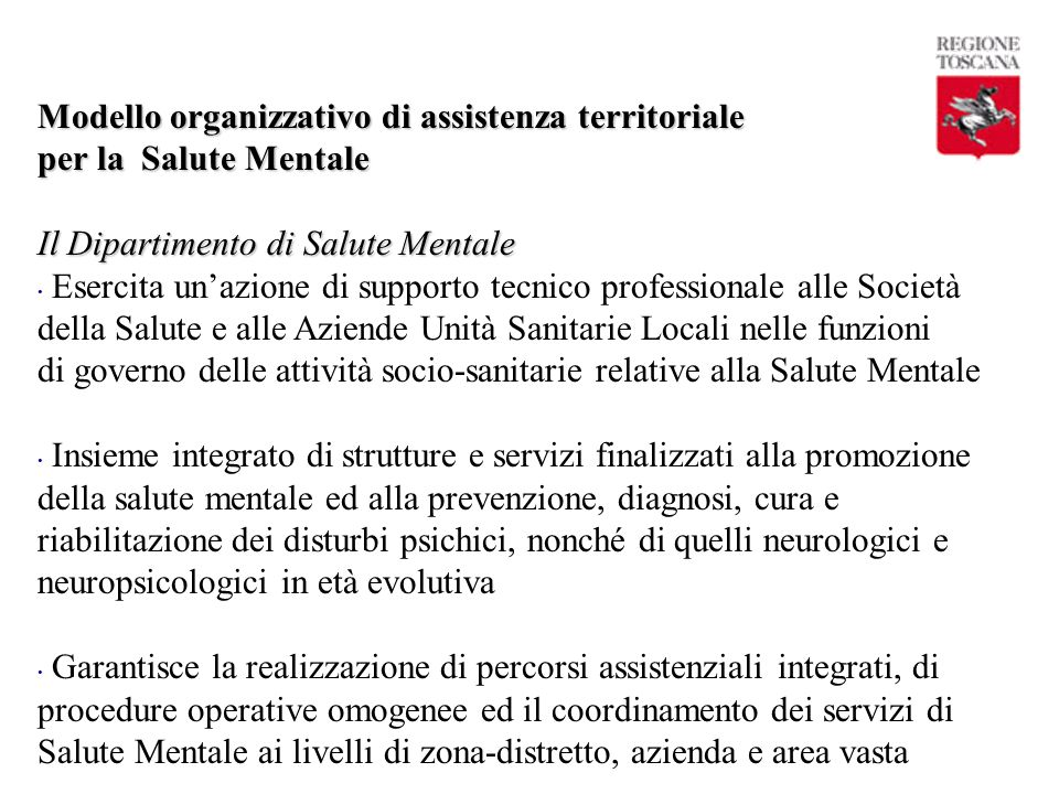 Modello organizzativo di assistenza territoriale per la Salute Mentale
