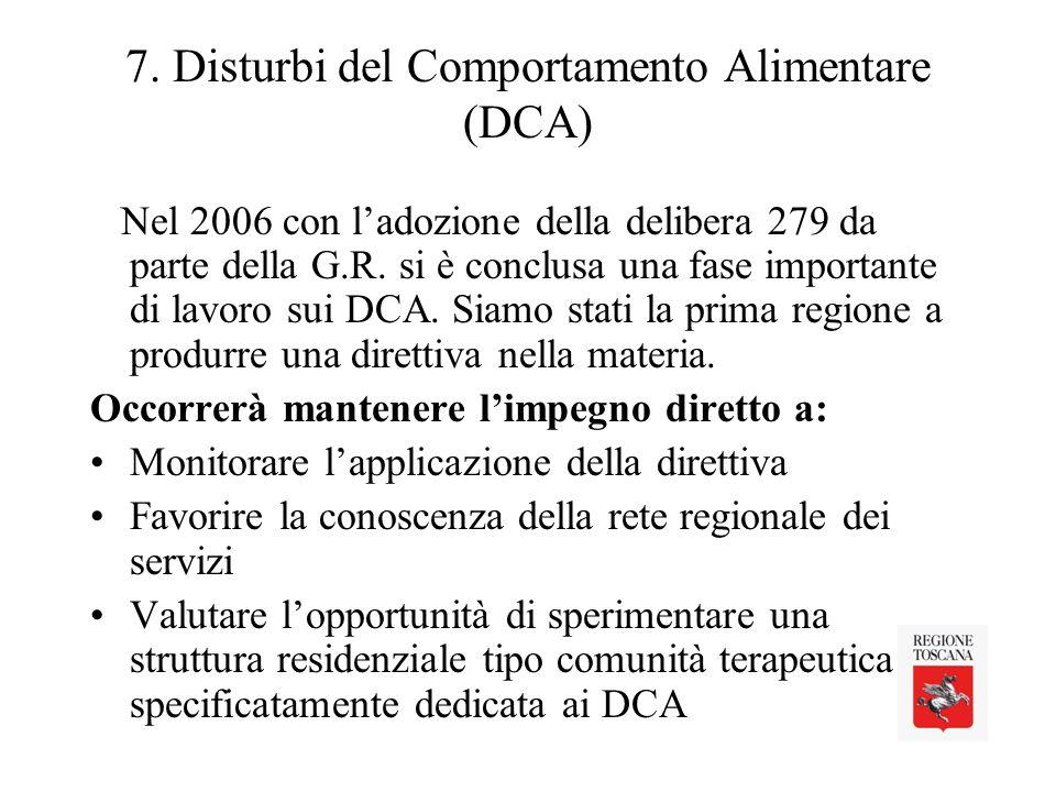 7. Disturbi del Comportamento Alimentare (DCA)