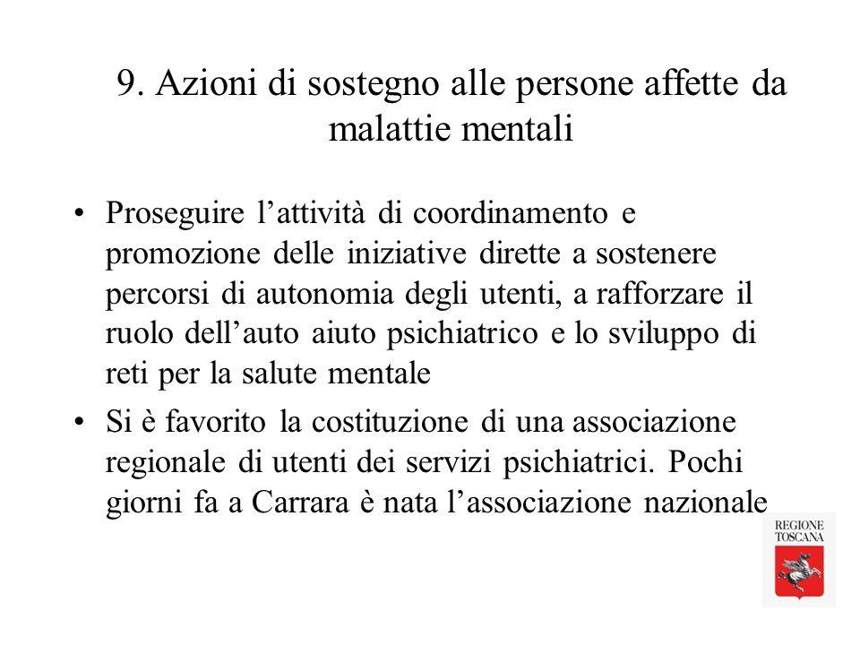 9. Azioni di sostegno alle persone affette da malattie mentali