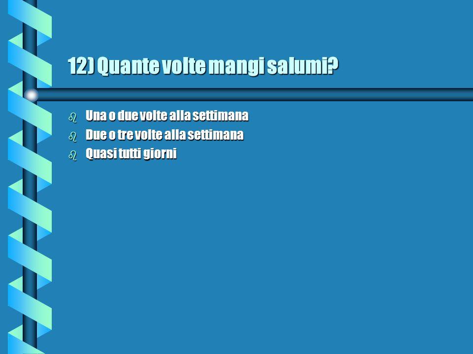 12) Quante volte mangi salumi