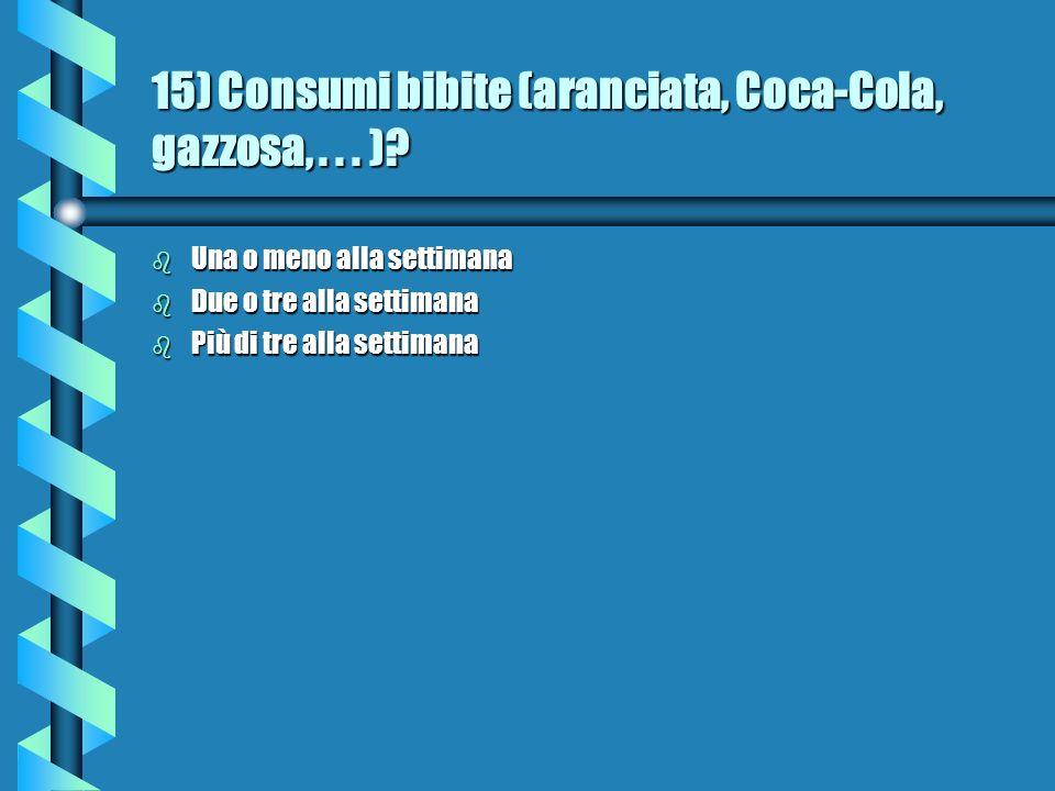 15) Consumi bibite (aranciata, Coca-Cola, gazzosa, . . . )