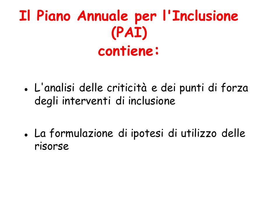 Il Piano Annuale per l Inclusione (PAI) contiene: