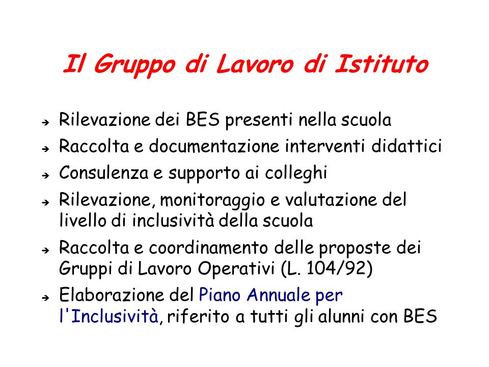 Il Gruppo di Lavoro di Istituto