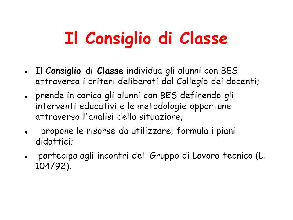 Il Consiglio di Classe Il Consiglio di Classe individua gli alunni con BES attraverso i criteri deliberati dal Collegio dei docenti;