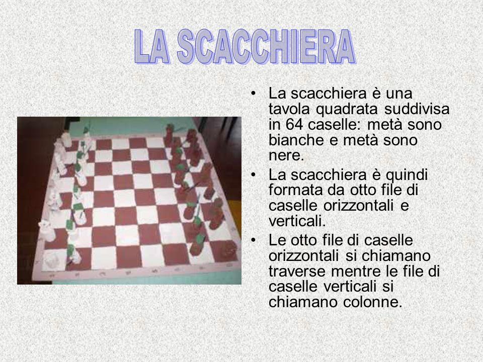 LA SCACCHIERA La scacchiera è una tavola quadrata suddivisa in 64 caselle: metà sono bianche e metà sono nere.