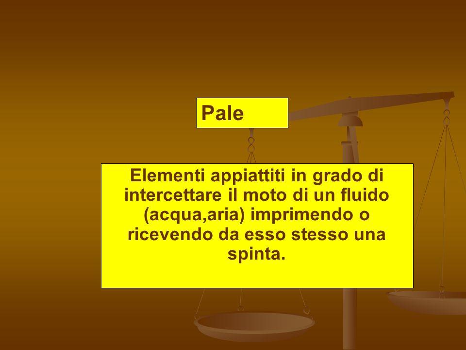 Pale Elementi appiattiti in grado di intercettare il moto di un fluido (acqua,aria) imprimendo o ricevendo da esso stesso una spinta.