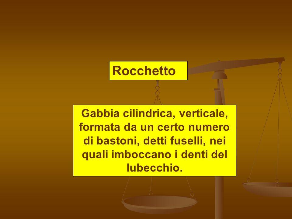 Rocchetto Gabbia cilindrica, verticale, formata da un certo numero di bastoni, detti fuselli, nei quali imboccano i denti del lubecchio.