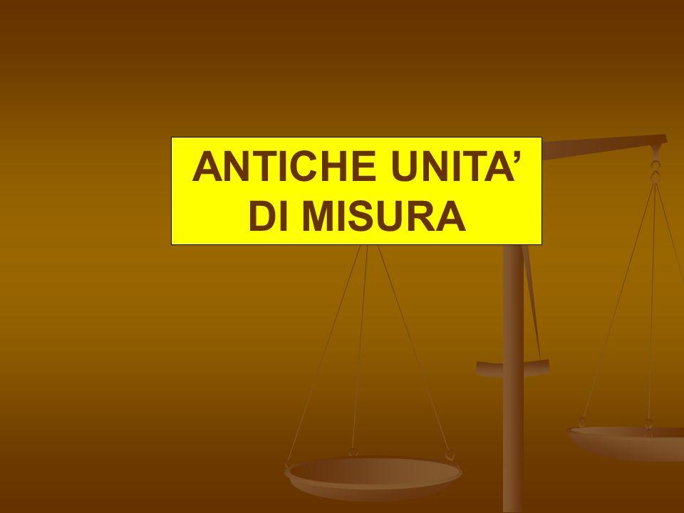 ANTICHE UNITA' DI MISURA