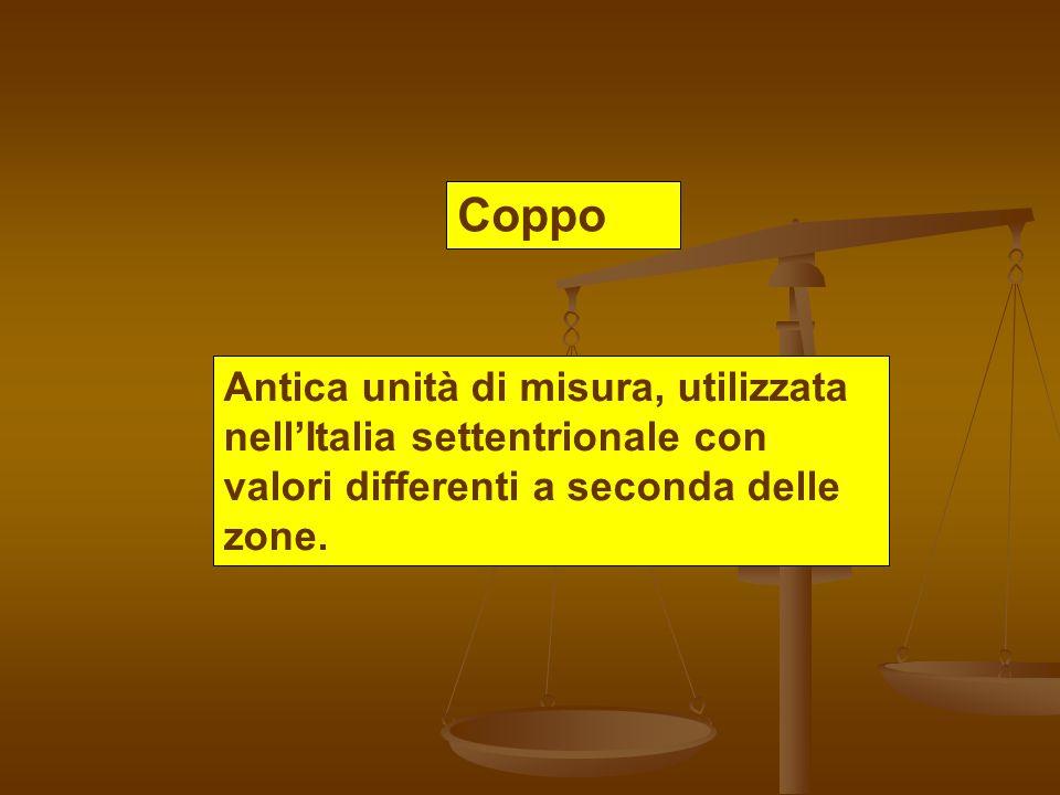 Coppo Antica unità di misura, utilizzata nell'Italia settentrionale con valori differenti a seconda delle zone.