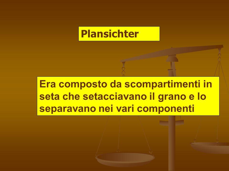 Plansichter Era composto da scompartimenti in seta che setacciavano il grano e lo separavano nei vari componenti.