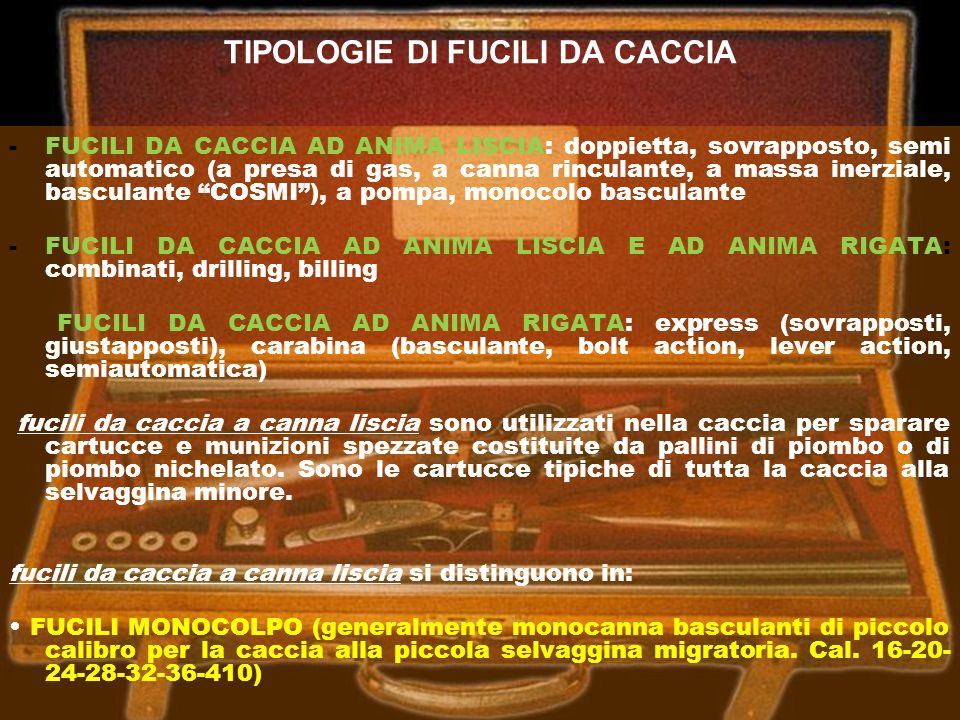 TIPOLOGIE DI FUCILI DA CACCIA