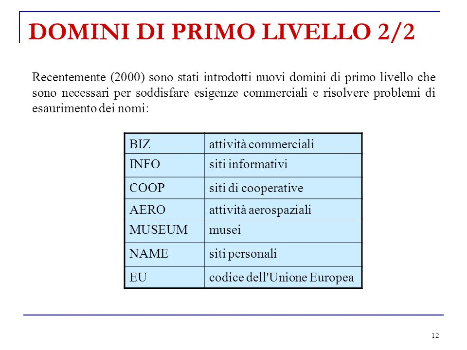 DOMINI DI PRIMO LIVELLO 2/2