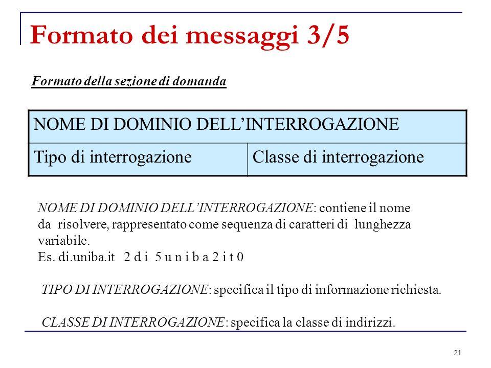 Formato dei messaggi 3/5 NOME DI DOMINIO DELL'INTERROGAZIONE