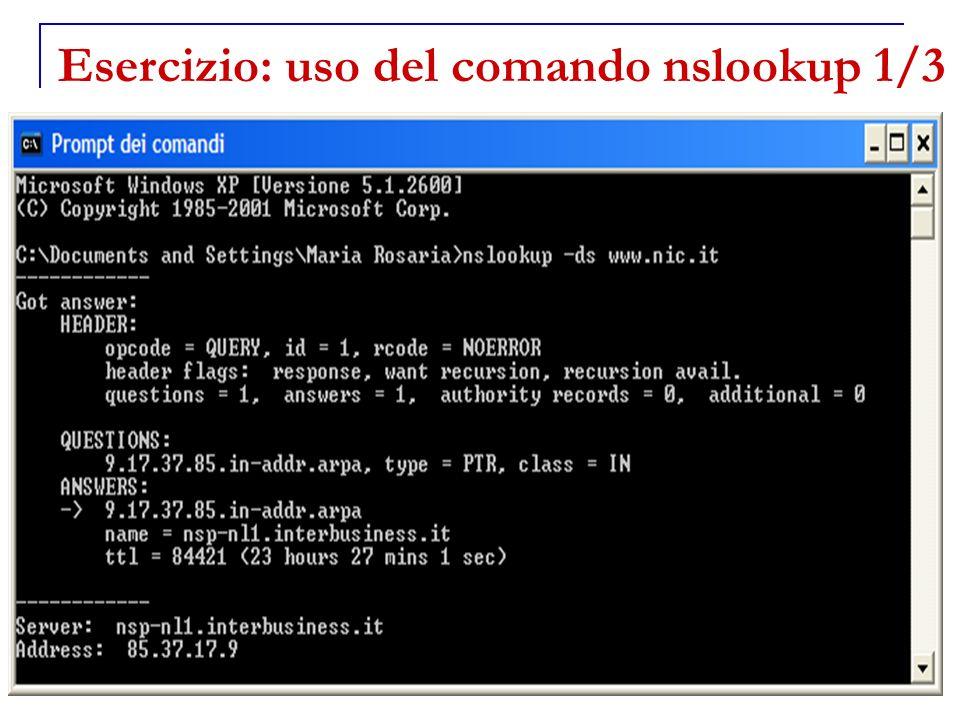 Esercizio: uso del comando nslookup 1/3