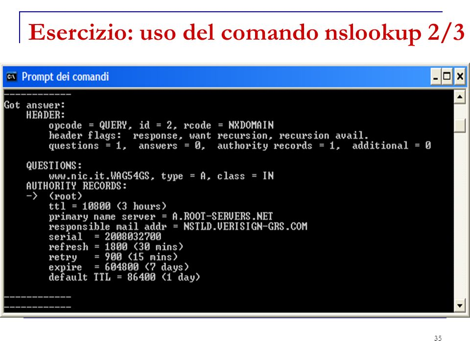 Esercizio: uso del comando nslookup 2/3