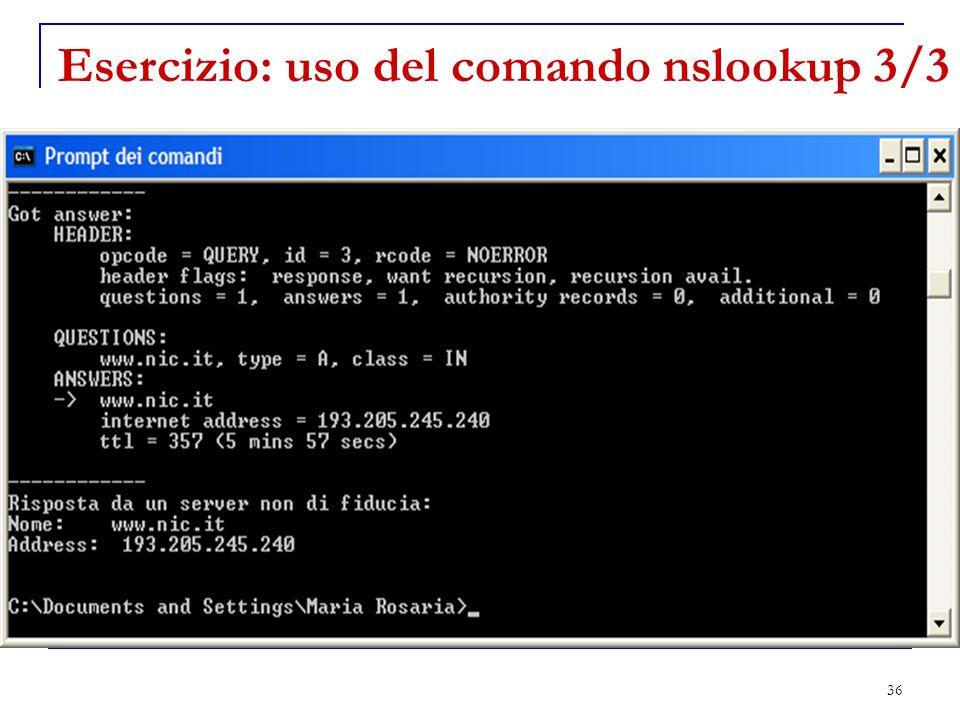 Esercizio: uso del comando nslookup 3/3