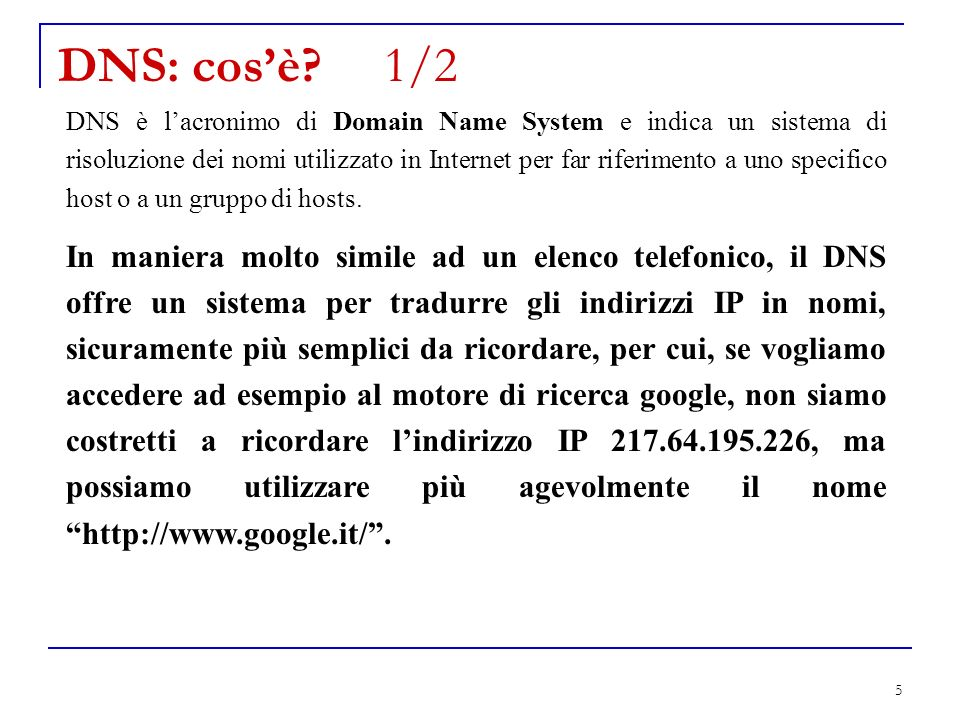 DNS: cos'è 1/2