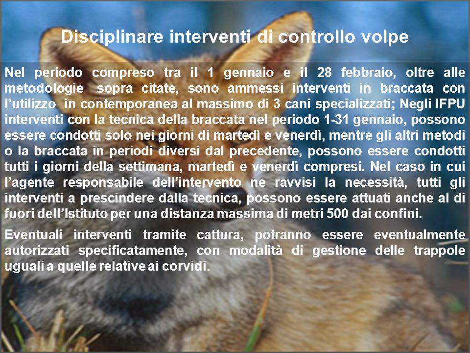 Disciplinare interventi di controllo volpe