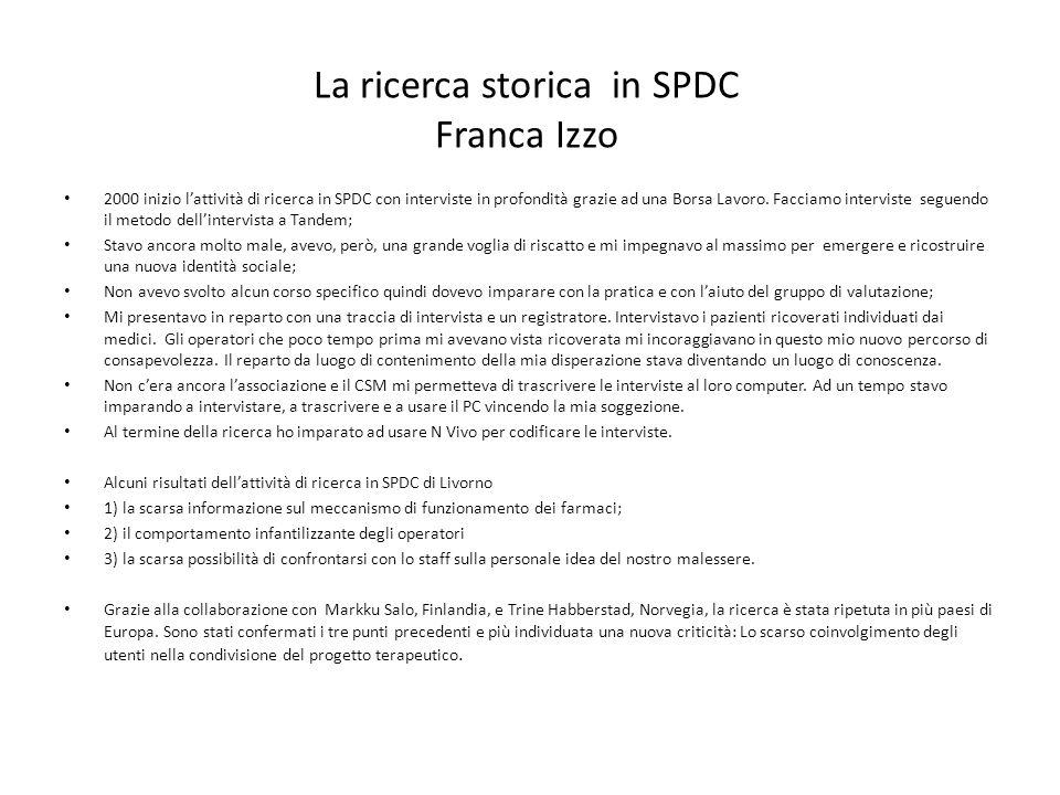 La ricerca storica in SPDC Franca Izzo