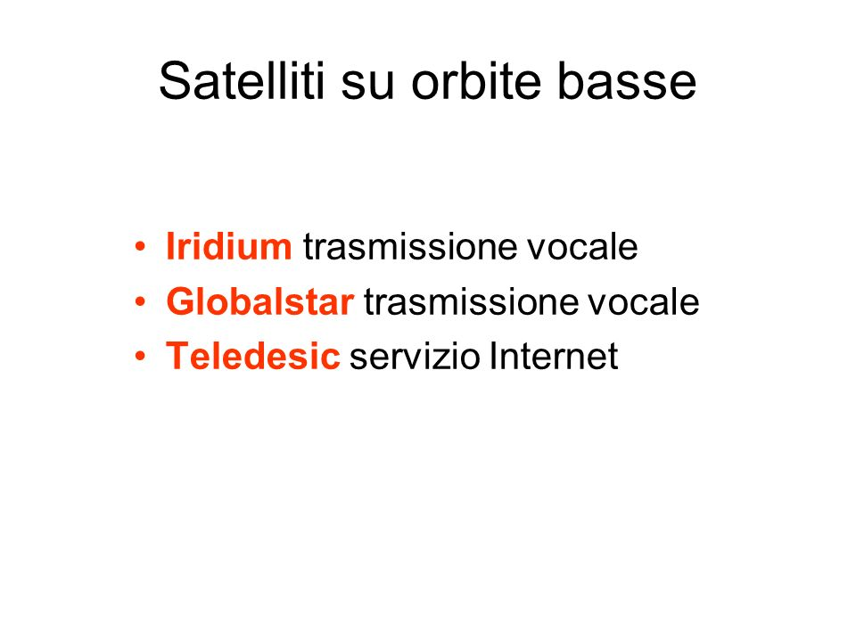 Satelliti su orbite basse